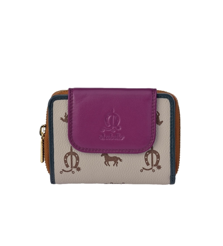 El Caballo Small leather wallet Lona taupe -12x9x3cm