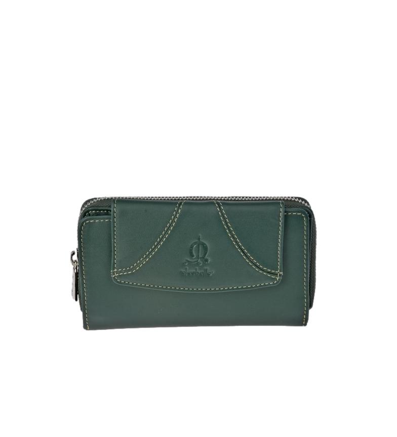 El Caballo Portafoglio in pelle Sedamar verde -16x9x3cm