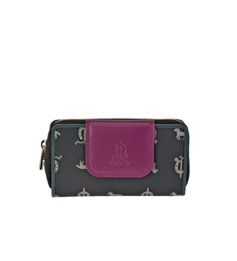 Comprar El Caballo Large black canvas leather coin purse -16x9x3cm