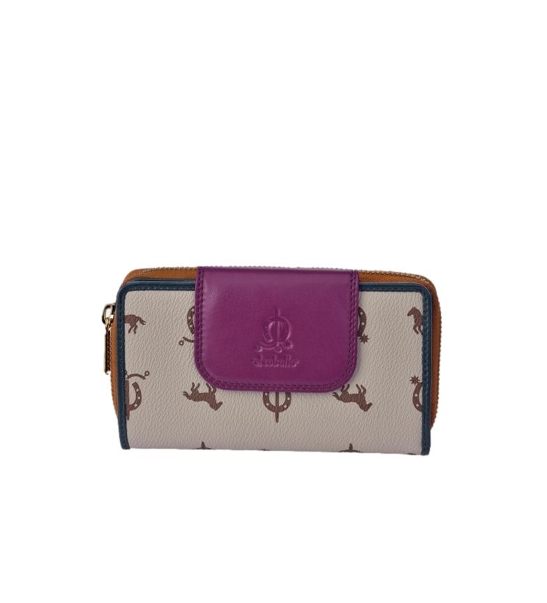 Comprar El Caballo Large leather wallet Lona taupe -16x9x3cm