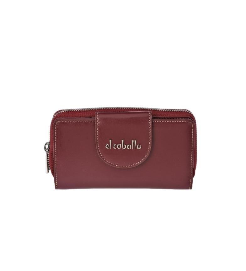Comprar El Caballo Large burgundy Anicalf leather coin purse -16x9x3cm