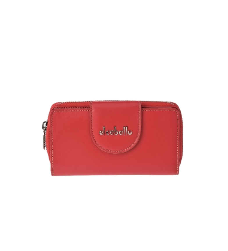 Comprar El Caballo Large red Anicalf leather coin purse -16x9x3cm