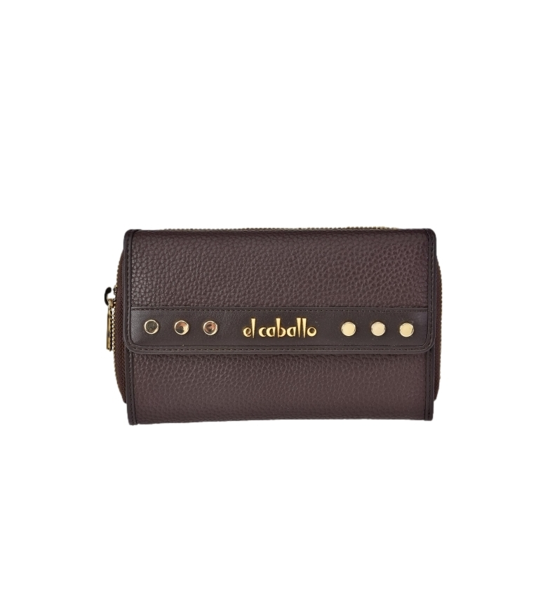 Comprar El Caballo Large brown Floather leather coin purse -17x10x3cm