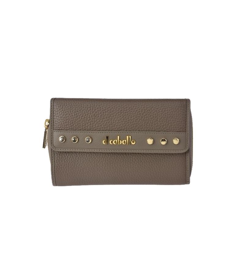 El Caballo Large Khaki Floather leather coin purse -17x10x3cm
