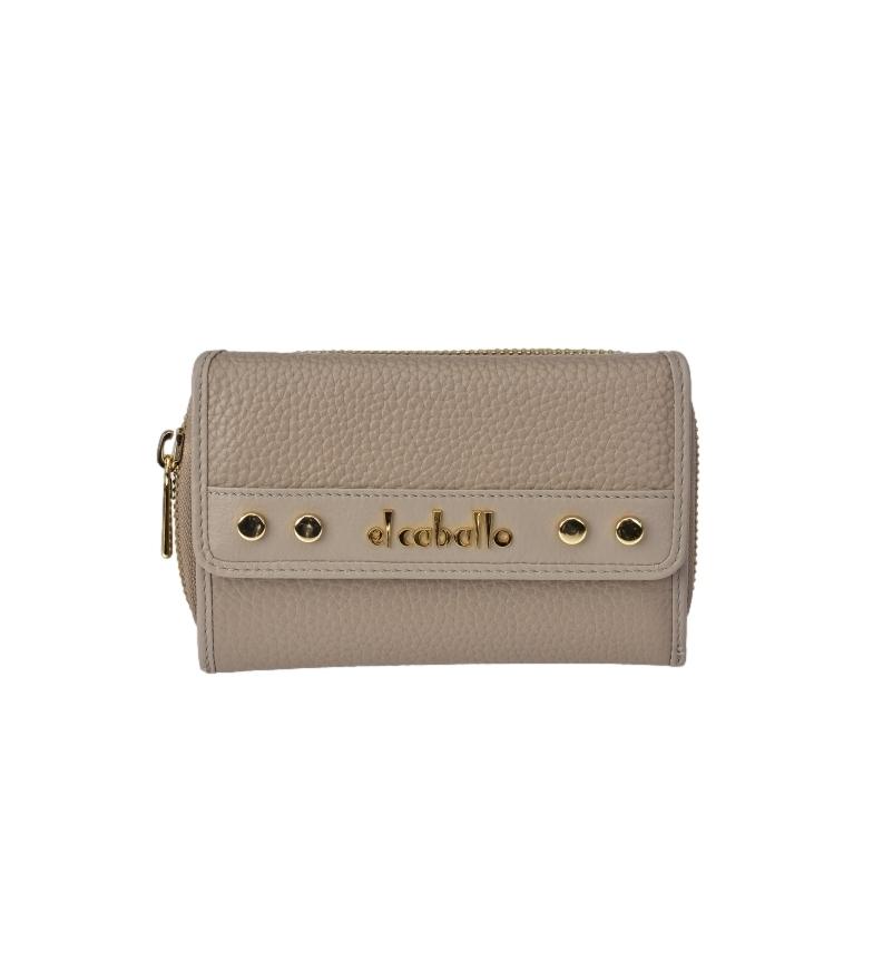 Comprar El Caballo Medium Floather taupe leather coin purse -14x9x3cm