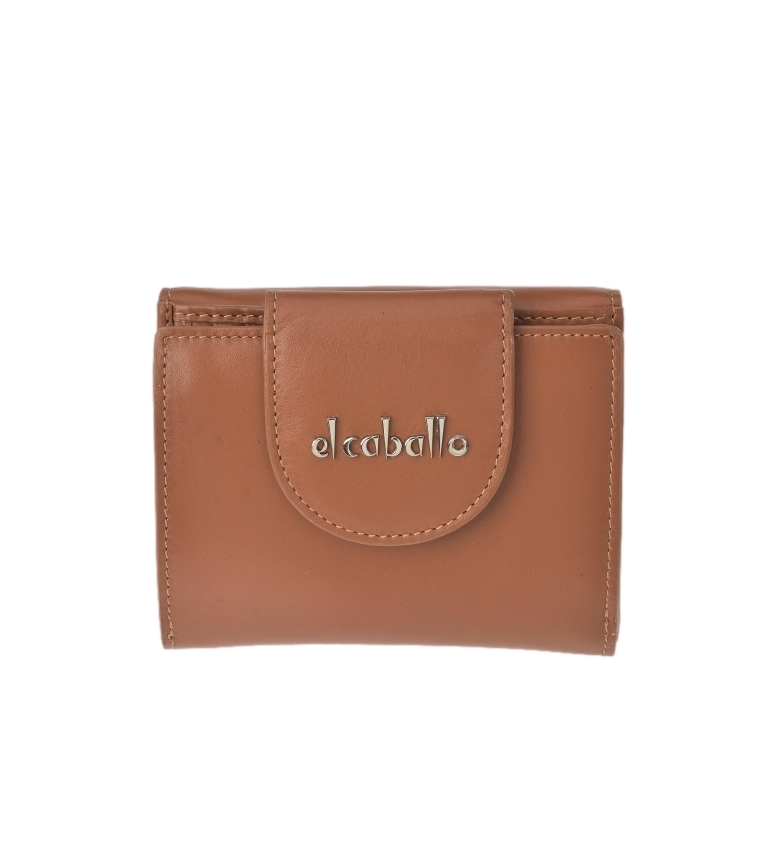 El Caballo Small brown Anicalf leather wallet -10x10x2.5cm