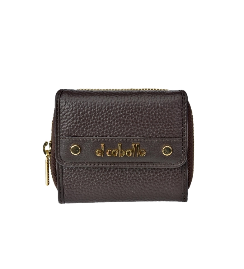 Comprar El Caballo Small brown Floather leather coin purse -10x9x3cm