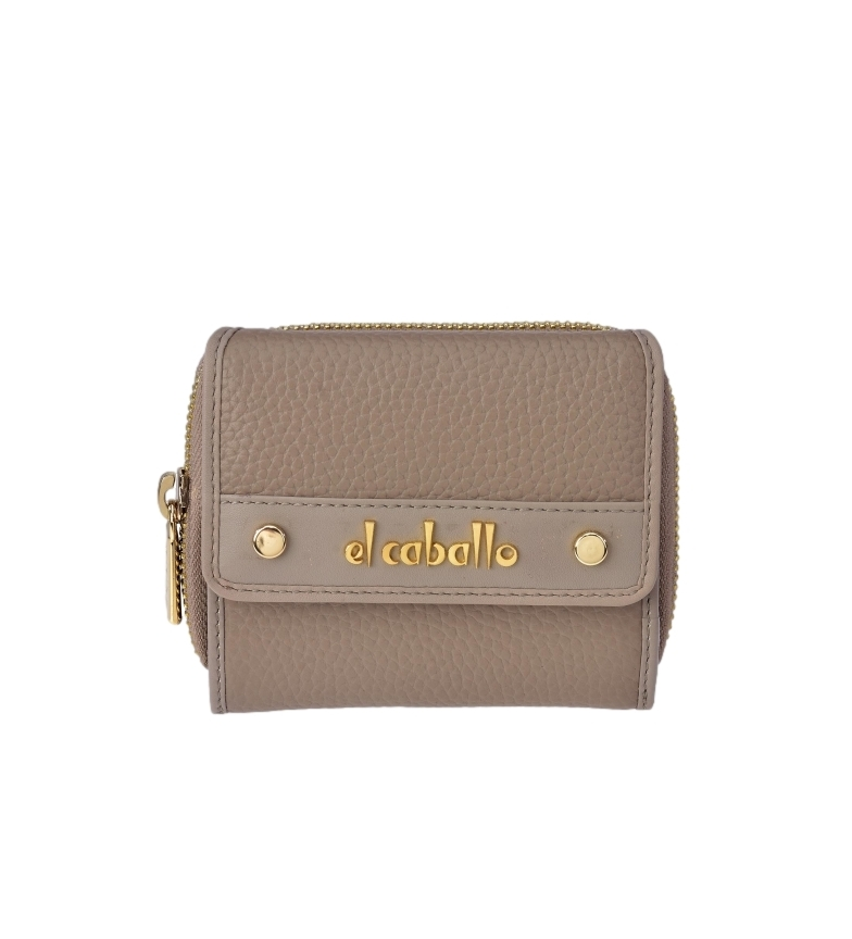 Comprar El Caballo Small Floather taupe leather wallet -10x9x3cm