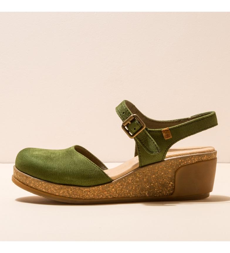 Comprar EL NATURALISTA Sandálias de couro N5001 Deixa verde -Altura da cunha: 5,5 cm-.