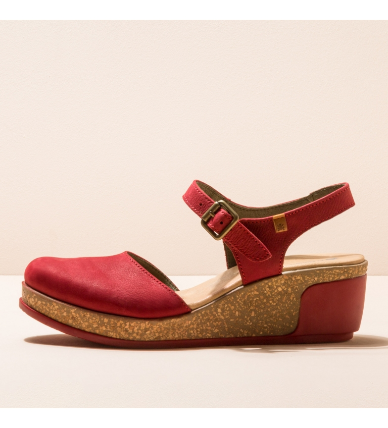 EL NATURALISTA Leather shoes N5001 Leaves red -Height of the wedge: 5,5cm