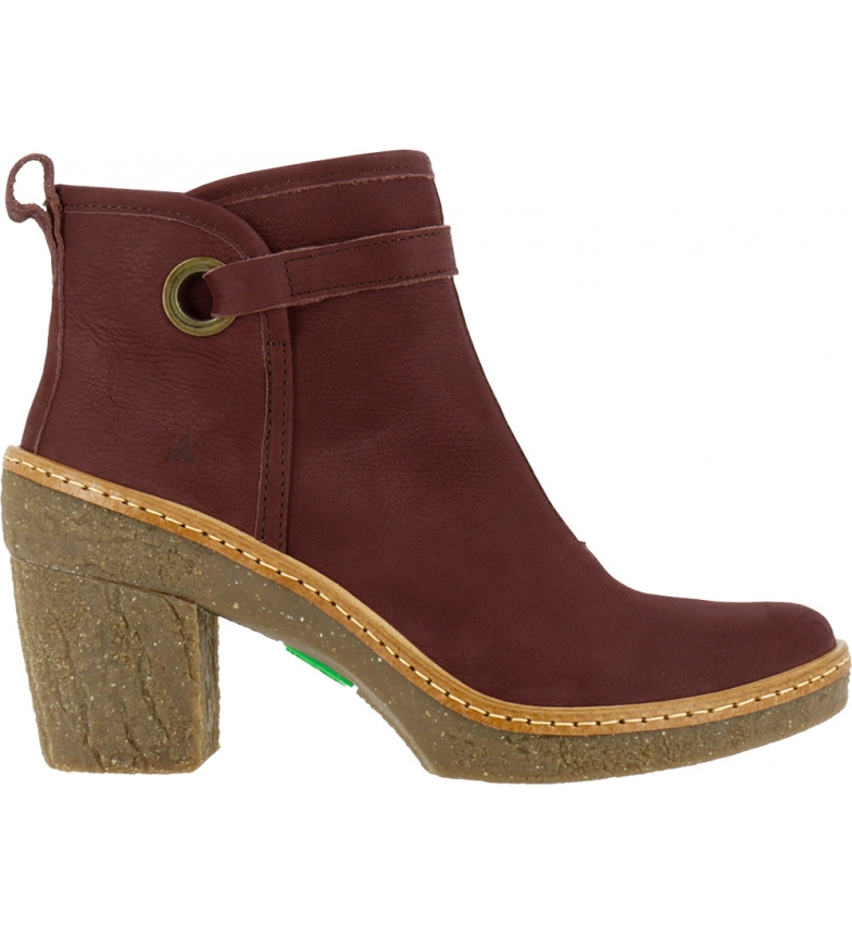Comprar EL NATURALISTA Beech leather ankle boots N5179 maroon -Heel height: 6 cm