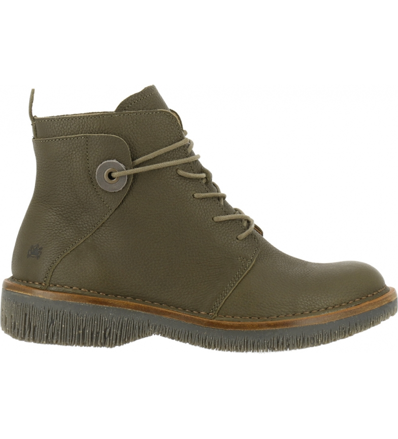 EL NATURALISTA Volcano N5575 olive leather ankle boots
