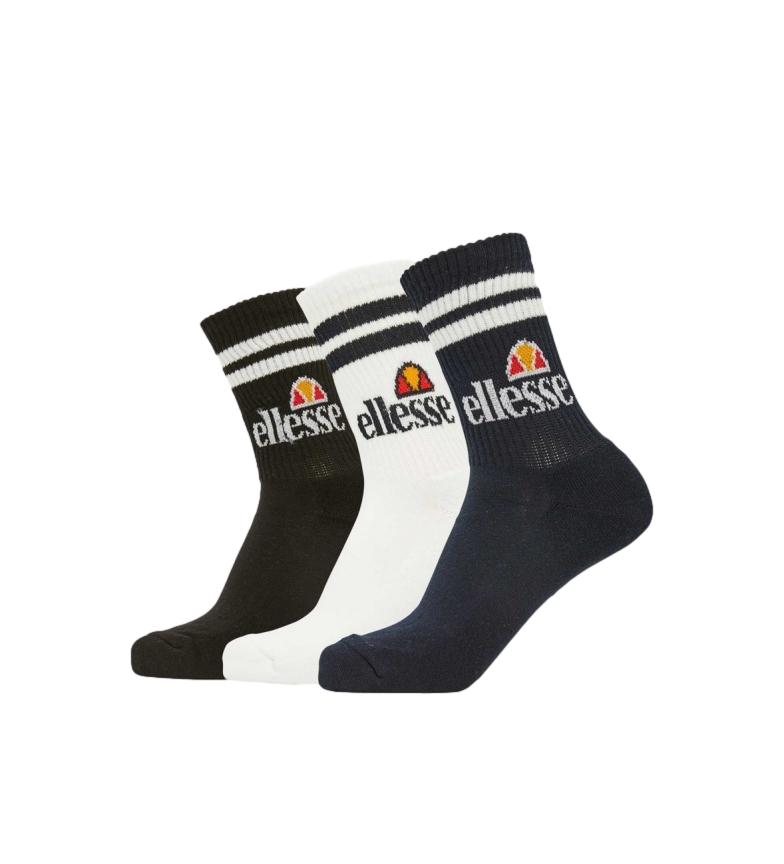 Ellesse 3-pack of Pullo Socks white, navy, black