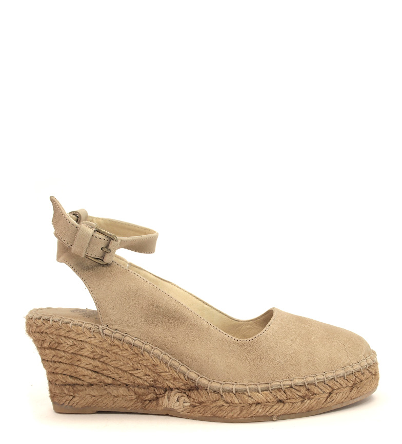 Comprar Espadrilles Beige Tribe leather espadrilles - Wedge height: 7cm-