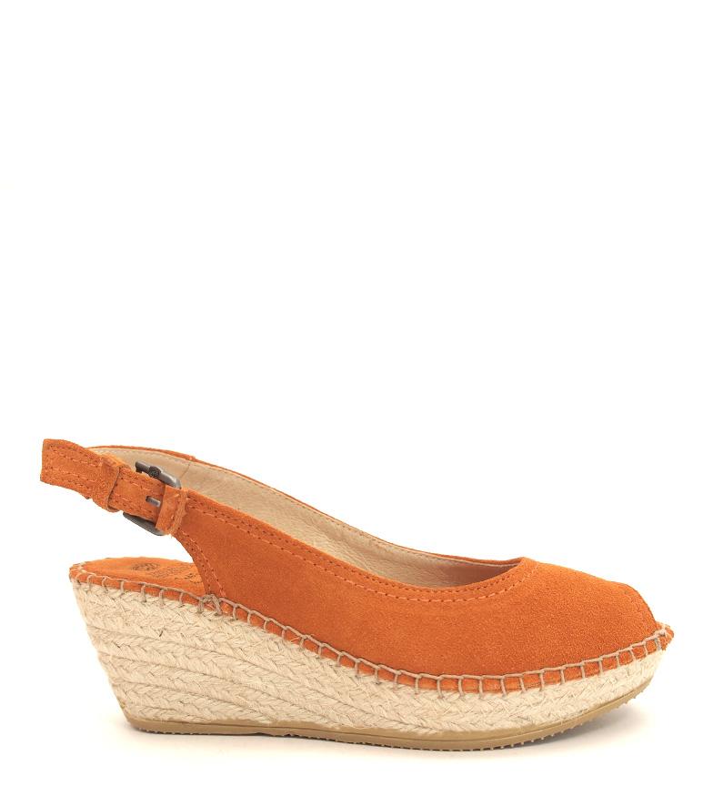 Comprar Espadrilles Alpargatas de piel Kaleido naranja -Altura cuña: 6cm-