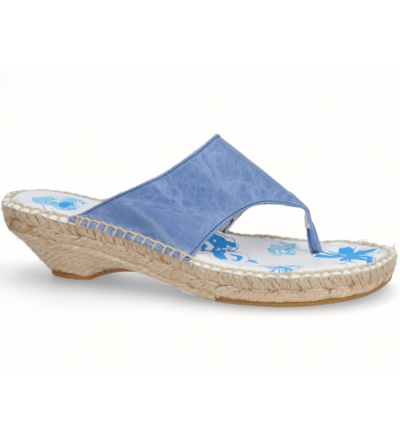 Comprar Espadrilles Faroese sandali in pelle blu - Altezza tacco: 3cm