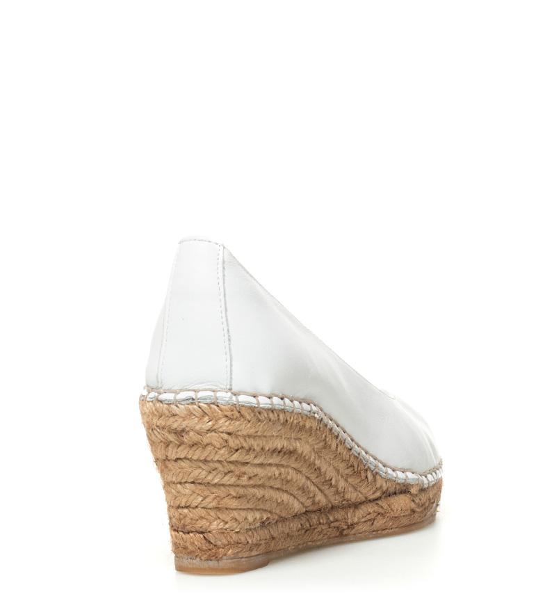 piel Alpargatas Altura Espadrilles blanco Espadrilles cuña de 7cm Alpargatas n4OPZqI