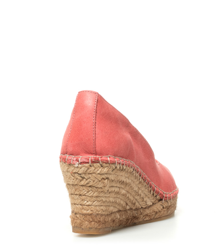 de 7cm coral cuña Espadrilles piel Altura Alpargatas 8FWqwz5