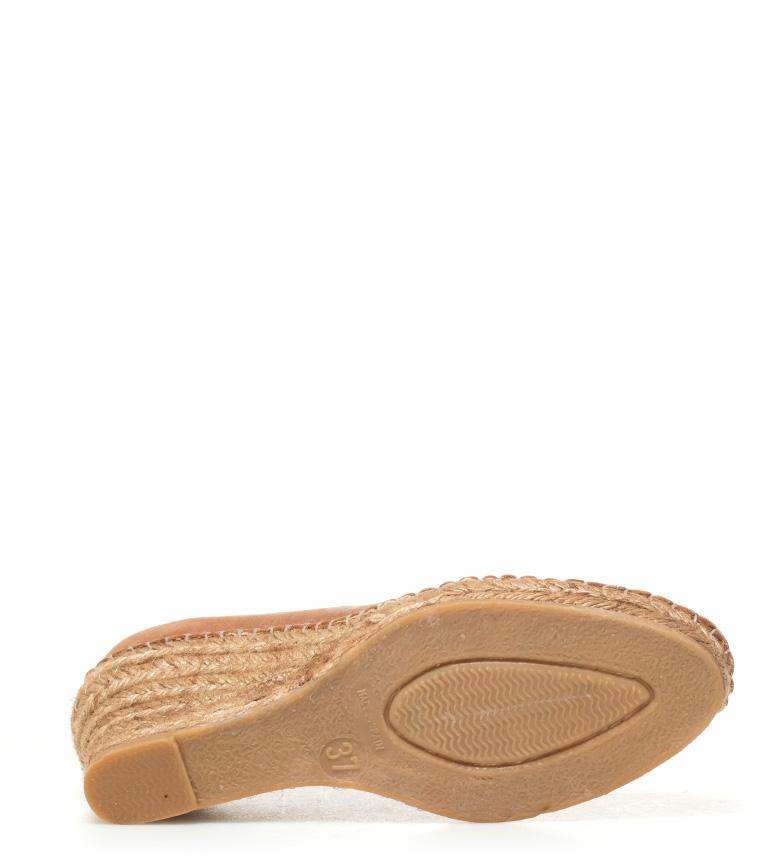 Espadrilles Alpargatas de piel marrón Altura cuña: 7cm