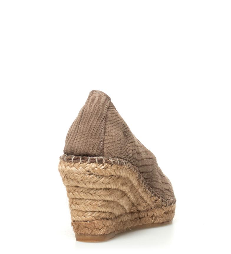 Espadrilles Espadrilles 7cm cuña de Alpargatas piel Alpargatas Altura taupe fr8wv6xf5q