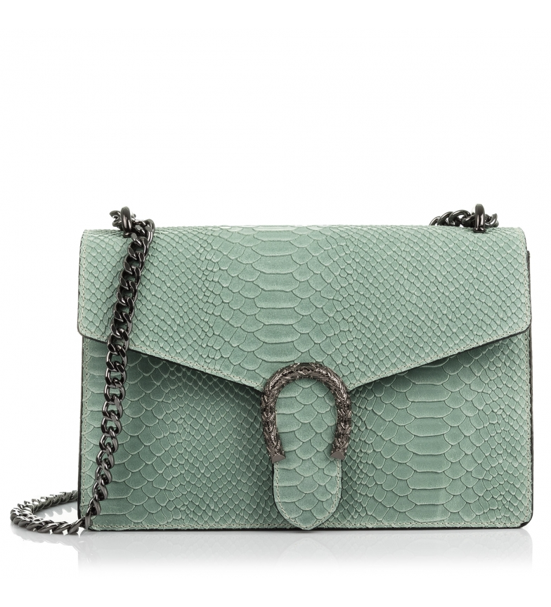 Comprar Firenze Artegiani Leather handbag Engraved Chamois Snake Luce green aquamarine -27x8x18 cm-