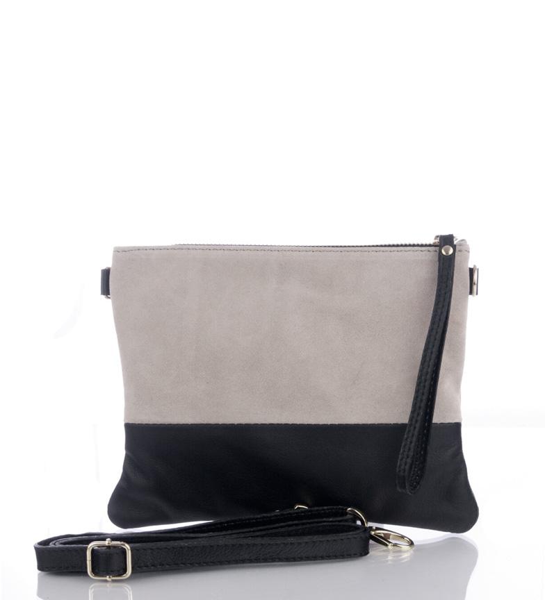 Comprar Firenze Artegiani Bolsa de couro Guilia cor ecru, preto -17.5x22cm-