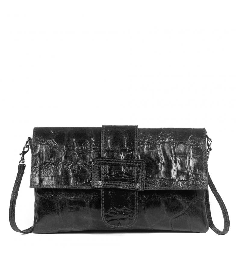 Comprar Firenze Artegiani Beatrice black leather shoulder bag-29x4x18cm