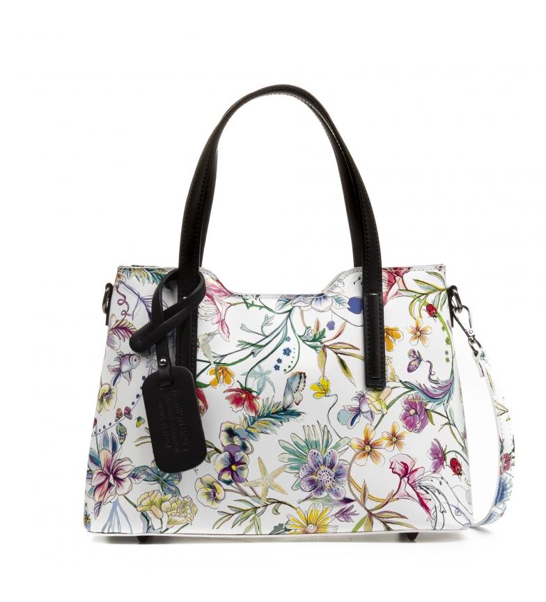 Comprar Firenze Artegiani Cannobian leather bag white, purple -31,5x12x22cm