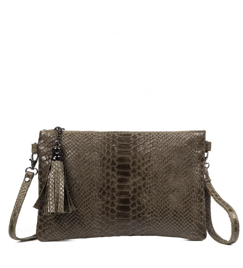Comprar Firenze Artegiani Ermine genuine leather shoulder bag Engraved chamois Green snake -26x5x16,5 cm