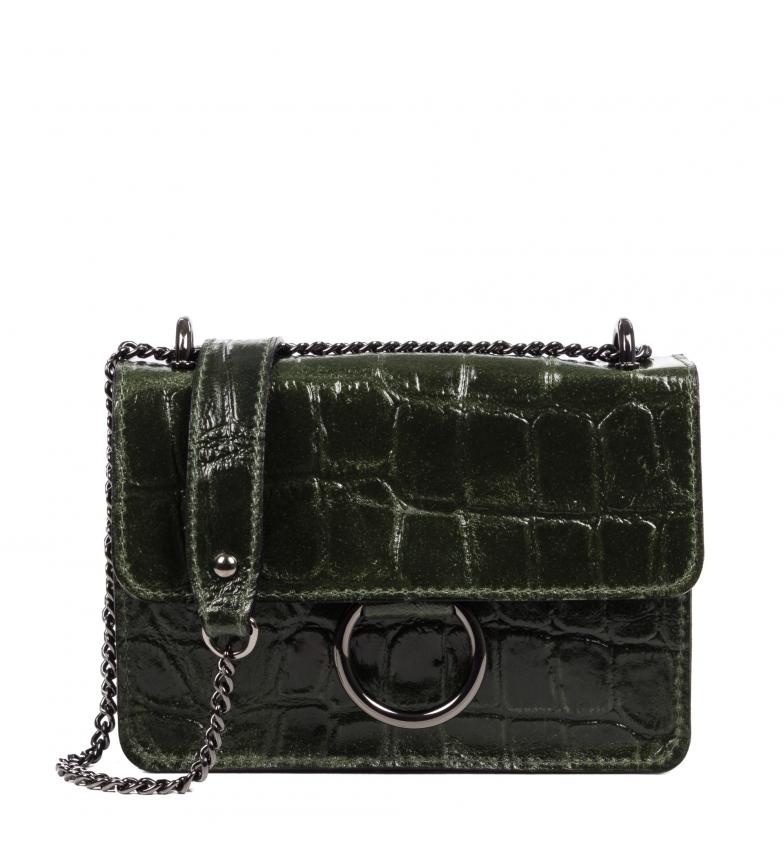 Comprar Firenze Artegiani Shoulder bag Fabrizia Genuine leather Chamois Engraved Green crocodile -19,5x5,5x13,5 cm