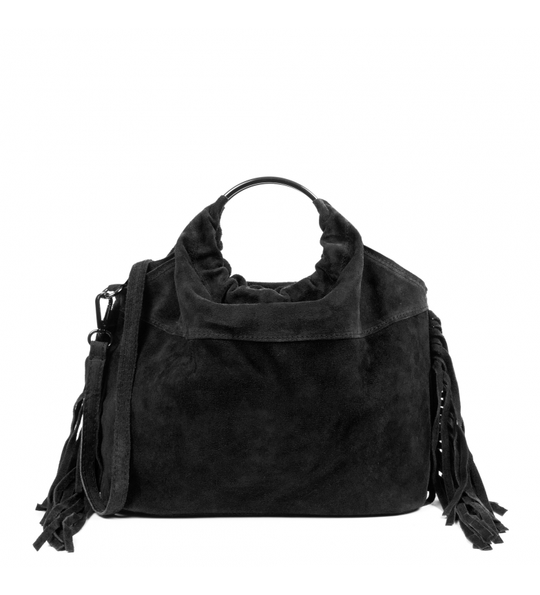 Comprar Firenze Artegiani Fiorella sac en cuir véritable Sac en daim noir -30x12,5x25 cm