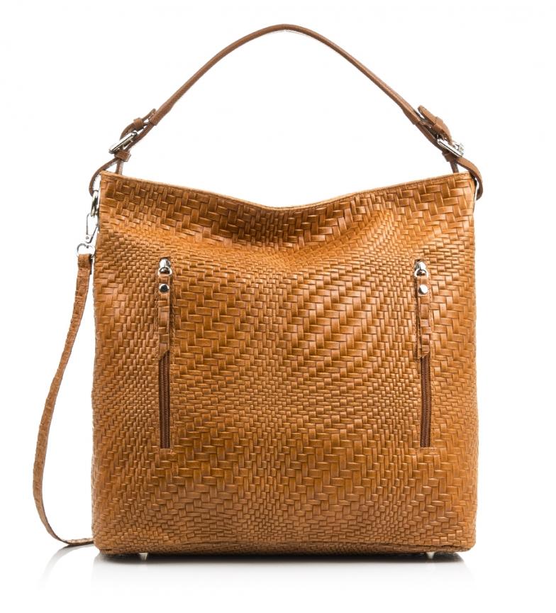 Comprar Firenze Artegiani Shoulder bag leather chamois Engraved Iris leather interlaced -36x13x36 cm-