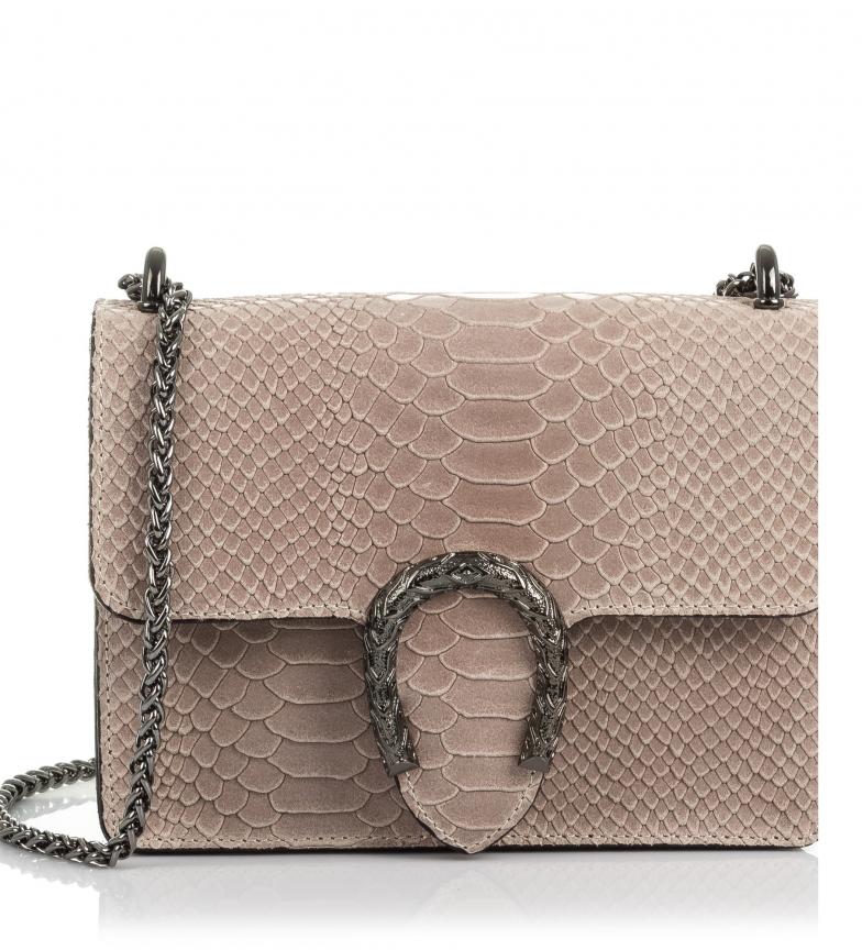 Comprar Firenze Artegiani Leather handbag Engraved Chamois Serpent Lorenza cipria -20x6x15 cm-