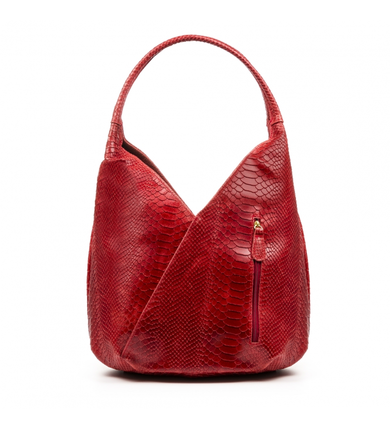 Comprar Firenze Artegiani Ponteranica Shoulder bag Genuine leather Chamois Engraved Red snake