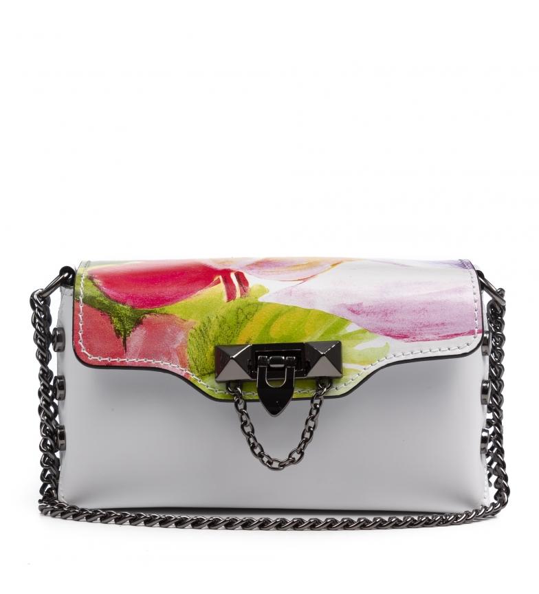 Comprar Firenze Artegiani Saco de couro Valeria branco, rosa -17x8x10,5cm