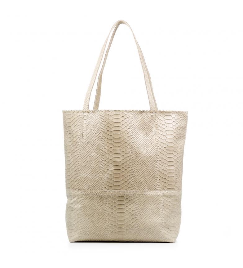Comprar Firenze Artegiani Genuine leather Venera Handbag Engraved Chamois Snake taupe -41x15x37 cm