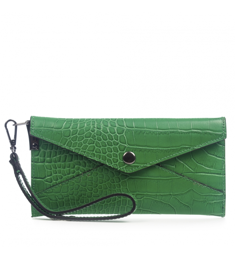 Comprar Firenze Artegiani Wallet Violet Genuine leather Crosta Engraved Green crocodile -19,5x1,5x9,5 cm