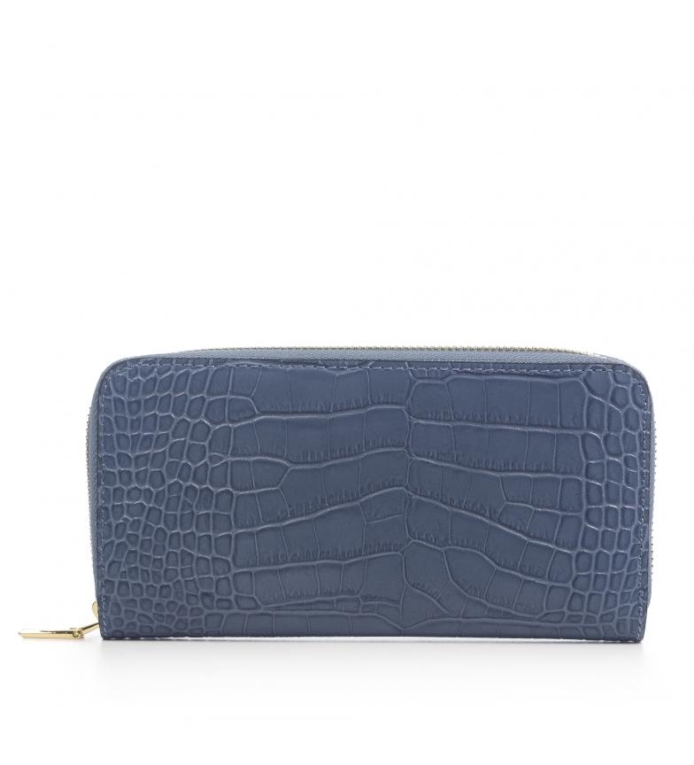 Comprar Firenze Artegiani Viviana Portefeuille en cuir véritable Crocodile Crocodile gravé bleu Crocodile -19,5x3x10 cm