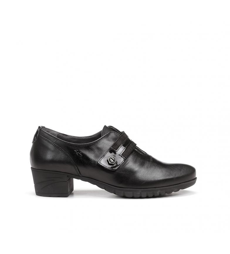 Comprar Fluchos Charis 9804 black leather shoes -Heel height: 4 cm