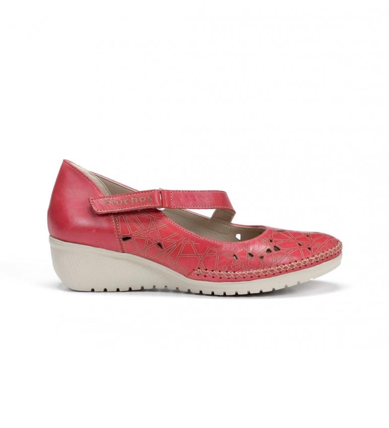 Fluchos Zapatos de piel Yoda F0500 rojo -Altura cuña: 4 cm-