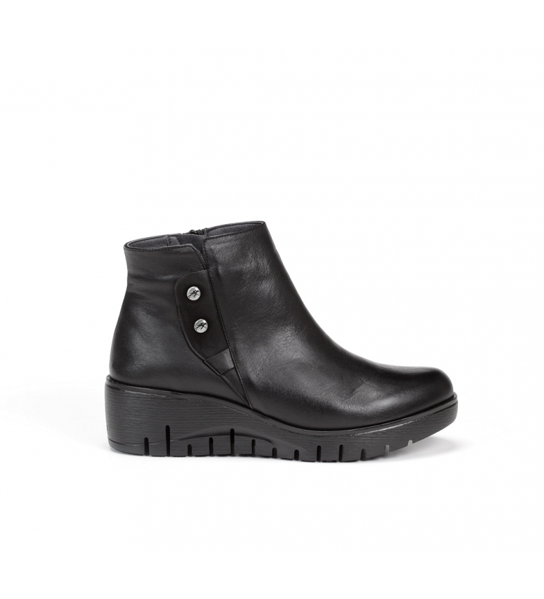 Comprar Fluchos Manny F0691 leather ankle boots black -Height wedge: 4 cm