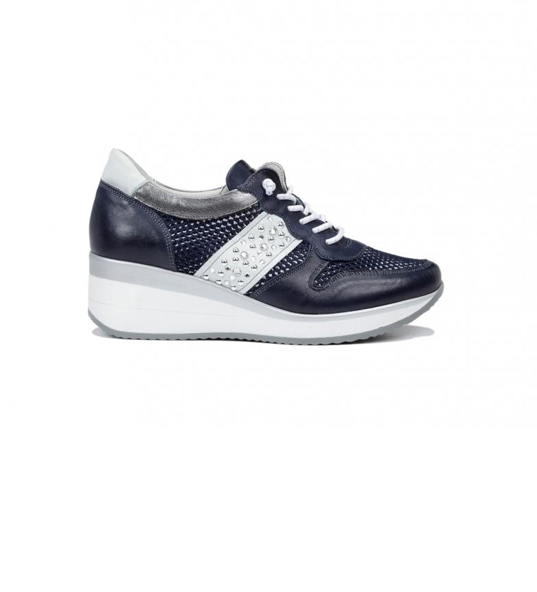 Fluchos Zapatillas de piel Plus F0723 blanco -Altura cuña: 5 cm-