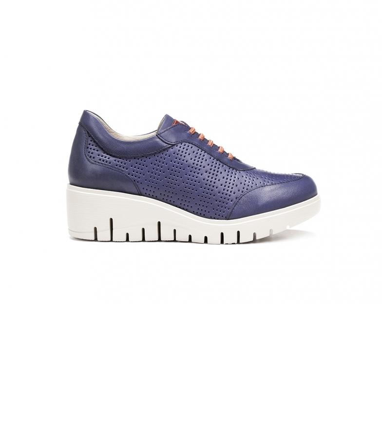 Comprar Fluchos Scarpe in pelle Blue Manny F0727 - altezza della zeppa: 5 cm