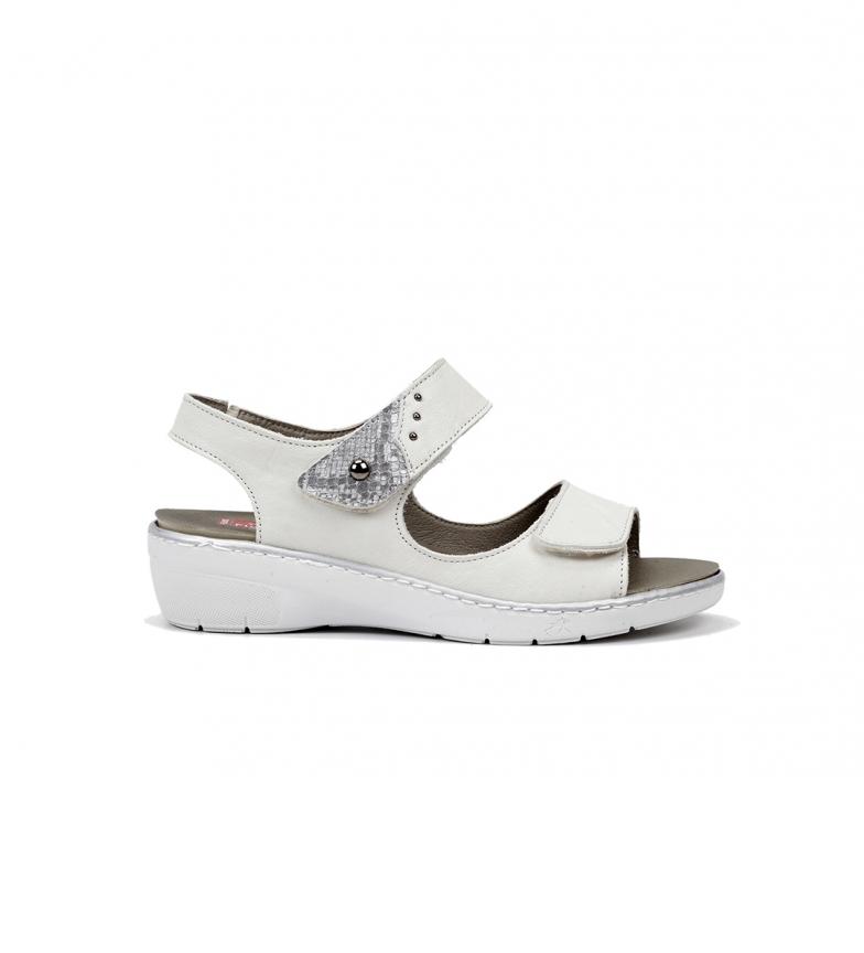 Comprar Fluchos Sandalias de piel Solly  F0763 cobra blanco -Altura cuña: 4cm-