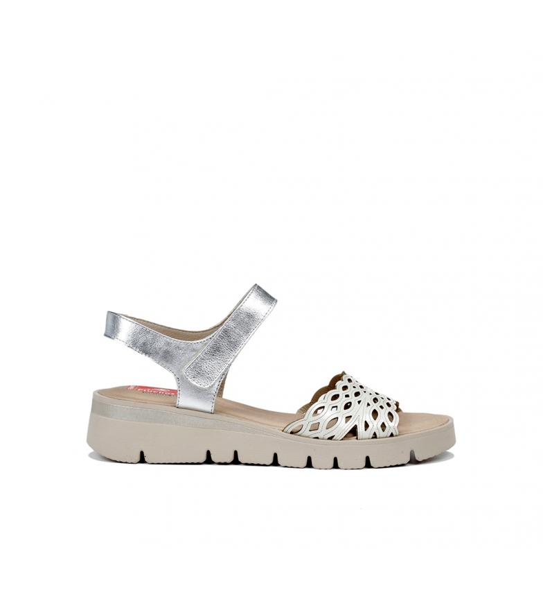 Fluchos Sandalias de piel Texa F0834 plata, blanco