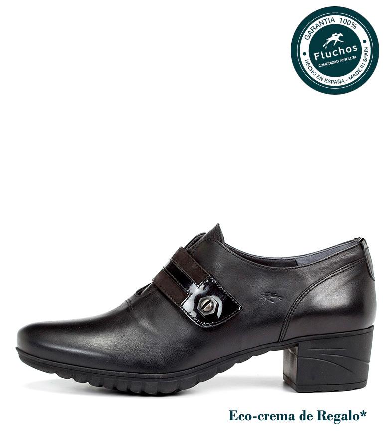 tacón Zapatos Altura negro Charis de 4cm Fluchos piel YXnTdIp