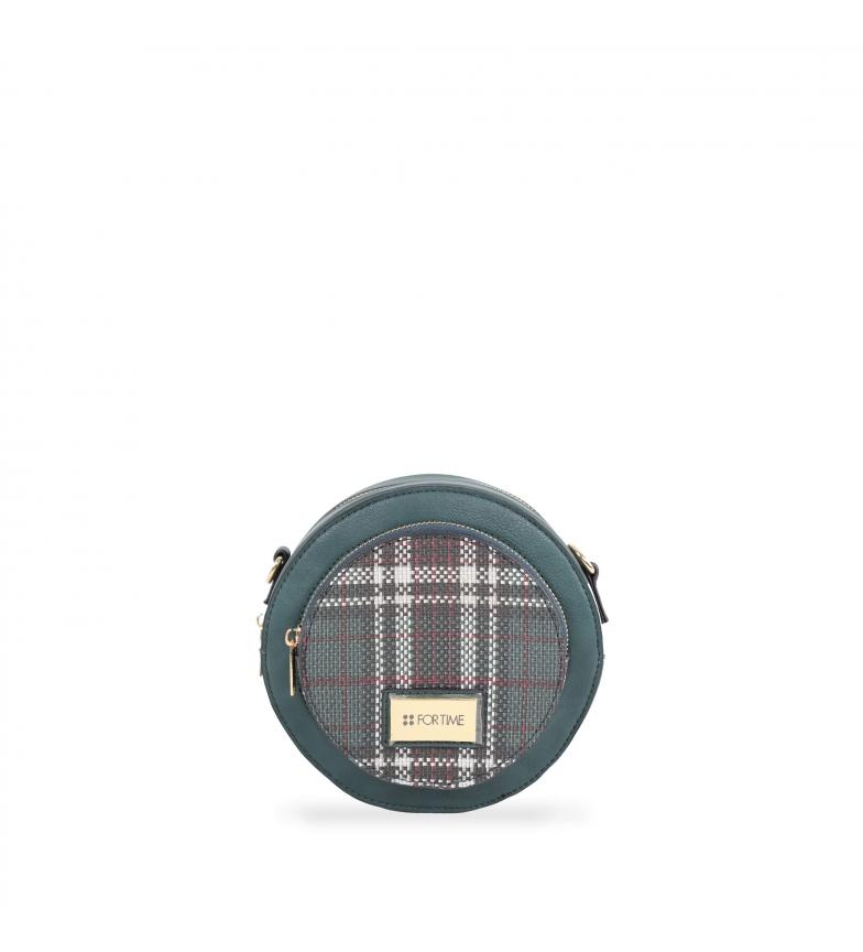 Comprar FOR TIME Borsa a tracolla rotonda in tweed verde -18x9x18 cm-