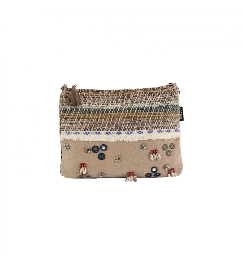 Comprar FOR TIME Olmeto brown ethnic canvas shoulder bag -22x28 cm