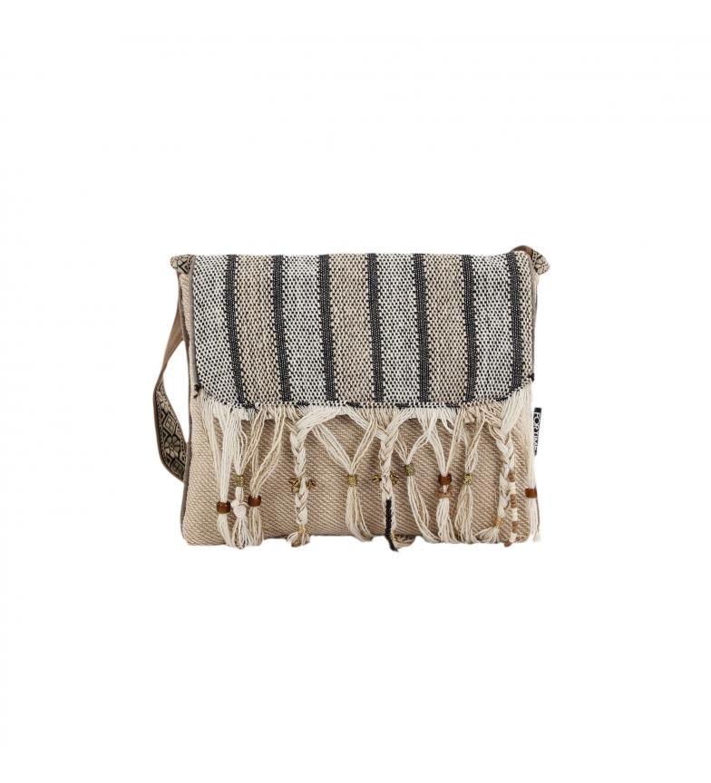 Comprar FOR TIME Sac à bandoulière ethnique Serra en toile grise, marron -28x22 cm