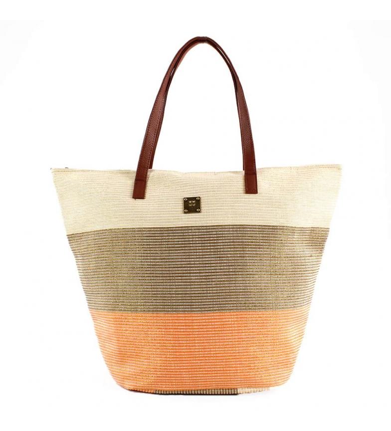 Comprar FOR TIME Nacelle en raphia tricolore orange -55x39 cm